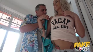 Preview 2 of Fake Hostel - Freckle faced girl with nice ass and big nipples creeped on