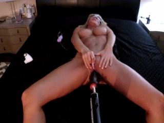 HOT AMATEUR BIG TITS CUMS WITH FUCKING MACHINE -top view