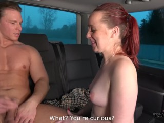 Huge ass redhead convinced by small cock Tarzan to fuck in driving van