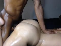 Brunette slut throws her huge white ass back on BBC