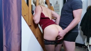 Step-mom stuck force fucked, get anal sex and cum in mouth by step-son Young russian