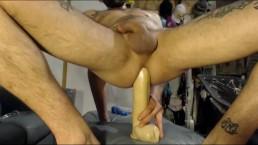 "Taking my 12""dildo deep makes my cock drip precum"
