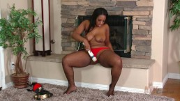 curvy ebony teen masturbates by fireplace