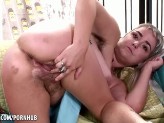 Super hairy Bratty Wolfie using toys for her pussy
