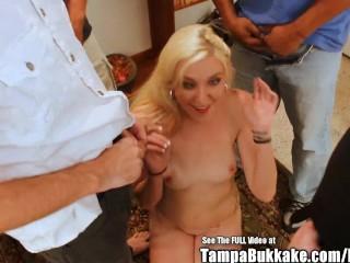 Dingy Blonde Babe Gang Bang Bukkake