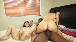 Two Little Lesbians Decide To Try Out Some Big Black Cock and Gets Facialed