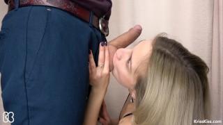 Preview 1 of Secretary Suck Big Cock and Swallows Cum, 4K (Ultra HD) - Kriss Kiss