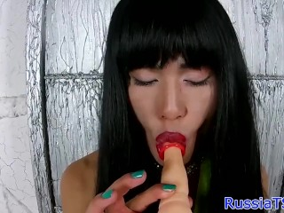 Tugging russian shemale pleasures her asshole