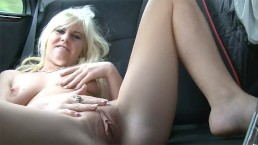 Young Blonde Bitch undress in car and shows her Pink Pussy
