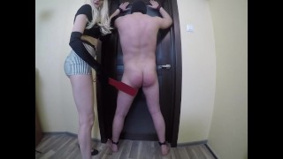 Femdom mistress orgasm torture for my slave with spanking hard and cumshot