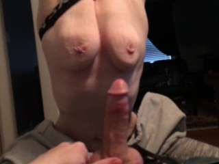 deep throating daddy until he cums on my tits