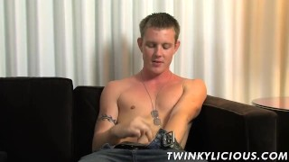 Hot white dude Landon Haynes wanking his fat pecker alone
