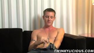 Hot white dude Landon Haynes wanking his fat pecker alone