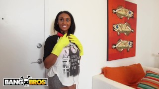 Preview 1 of BANGBROS - Ebony Maid Arianna Knight Has An Incredible Body