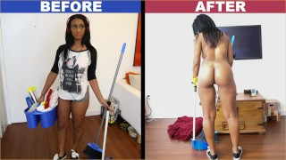 Screen Capture of Video Titled: BANGBROS - Ebony Maid Arianna Knight Has An Incredible Body
