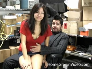 Busty brunette amateur fucks her boss at work