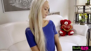 Bratty Sis - Little Step Sister Falls For Brothers Valentines Day Surprise Big moaning