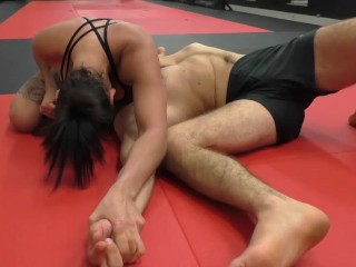 FEMDOM WRESTLER DOMINATES MAN IN MMA FIGHT CLUB - AMETHYST HAMMERFIST