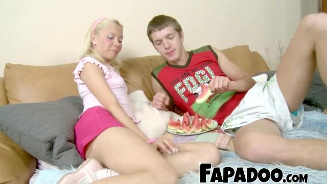 Slim Blonde Watermelon Eating Foreplay