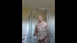 getting all soaped up in the shower