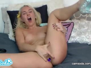 Aaliyah Love blonde big tits MILF vagina and anal masturbation.