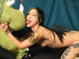 Silly N Fun Triceratops Stuffed Animal Humping Licking Hitachi Orgasm