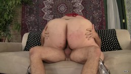 Horny fat BBW riding cock and getting a facial