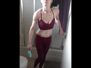 Skinny and pale anorexic wife sucking my cock in the shower after workout