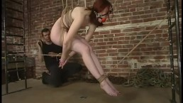 classic rope bondage red head whipped and fucked