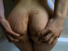 Slowly Drink And Lick Red Wine From My Tasty Big Round Ass And Ginger Pussy