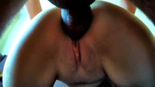 Hot Masked Girl Get's Fucked and Creampied on Balcony