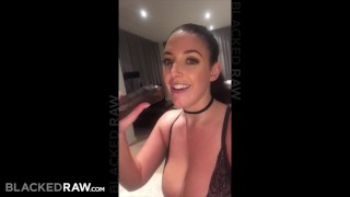 BLACKEDRAW Black stud takes Angela White in her hotel room Amateur cum