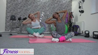 Preview 2 of Fitness Rooms Russian redhead black British babe interracial lesbian sex