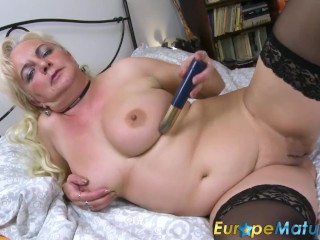 EuropeMaturE Busty Mature Blonde Solo Showoff