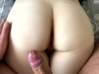 Close up fucked in tight pussy - Pov cum on ass