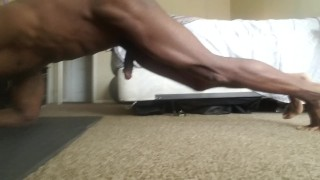 Naked workout,(with cumshot)