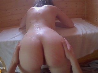 Teen couple having fun in the sauna - that pussy tasted salty!