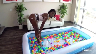 SinsLife Sex Tour: Ana Foxxx, Kissa and Johnny, Oiled Hardcore in Ball Pit! Teenager sucker