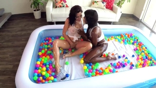 SinsLife Sex Tour: Ana Foxxx, Kissa and Johnny, Oiled Hardcore in Ball Pit! Man black