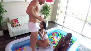 SinsLife Sex Tour: Ana Foxxx, Kissa and Johnny, Oiled Hardcore in Ball Pit! Butt girlfriend
