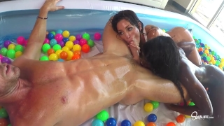 SinsLife Sex Tour: Ana Foxxx, Kissa and Johnny, Oiled Hardcore in Ball Pit! Girl tits