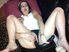 Milf double black dong dildo masturbation