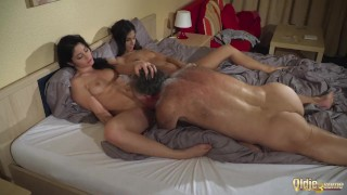 Old Young Porn Teens share old man and ride his wrinkled cock swallow his c