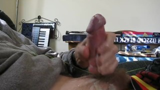 Jerking Off My Throbbing Cock with Cum Shot