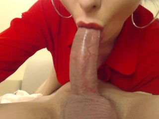 Amazing Brunette With Green Eyes Gives A Great Blowjob