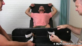 Two pervy dudes restrain and tickle sexy jock Christian W Dick shots