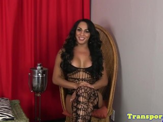 Latina trans goddess with big tits wanks solo