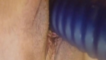 Milf with a blue toy
