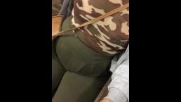 Transparent shirt no bra army fatigue public train station