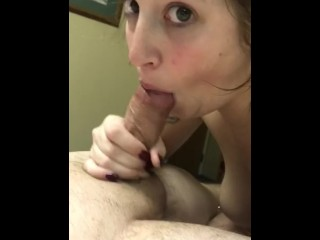 Step sister sucking me off and cuming on her pt. 2